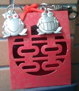 boîte et porte-clés reçus en cadeau lors du mariage