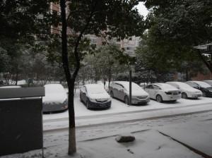 Le parking sous la neige