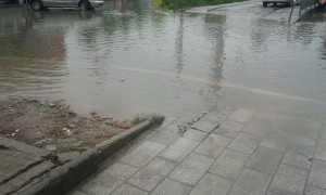 Une rue sous l'eau